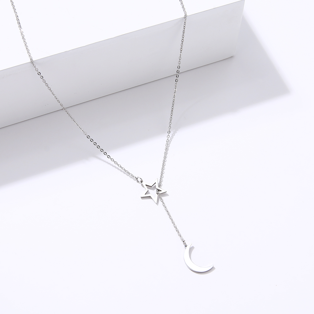 CACANA Long Pendant Moon And Hollow Star Necklaces Pendants For Women Simple Design Necklace Stylish Stainless Steel Jewelry