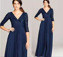 v-neck Long Evening Gowns With Three Quarter Sleeve Formal Women Prom 2018 Dark Navy Mother of the Bride Lace Dresses
