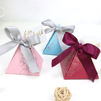 AVEBIEN Baby Shower Triangular Pyramid Candy Box Wedding Favors and Gifts Boxes Wedding Decoration Candy Bags for Guests 50pcs
