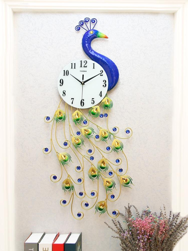Originality   Peacock Clock  Sitting Room  Contemporary  Adornment Large Wall  Clock  Modern Design  Bedroom  Quartz  Clock