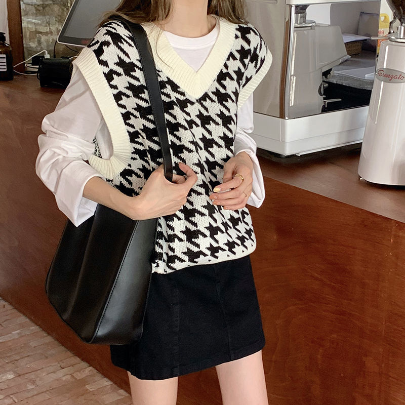 Hfaf69092fbba4503857add65bb52cc65K Women Sweater Vest Autumn Houndstooth Plaid V-neck Sleeveless Knitted Vintage Loose Oversized Female Sweater Vest Tops