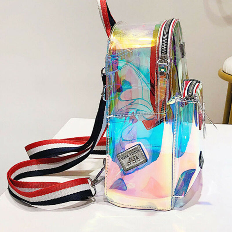 Fashion UK Clear PVC Transparent See Through Mini Backpack Cute School Book Bag