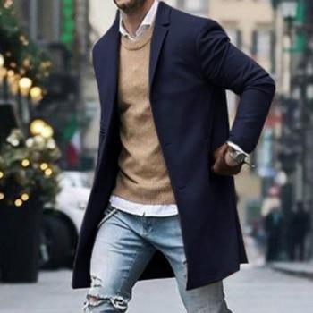 High Quality Men's Trench Coat Winter Warm Woolen Coat Men Leisure Long Solid Color Slim Fit Single Breasted Casual Overcoat ursporttech fashion coat men wool coat winter warm solid long trench jacket breasted business casual overcoat male woolen coat