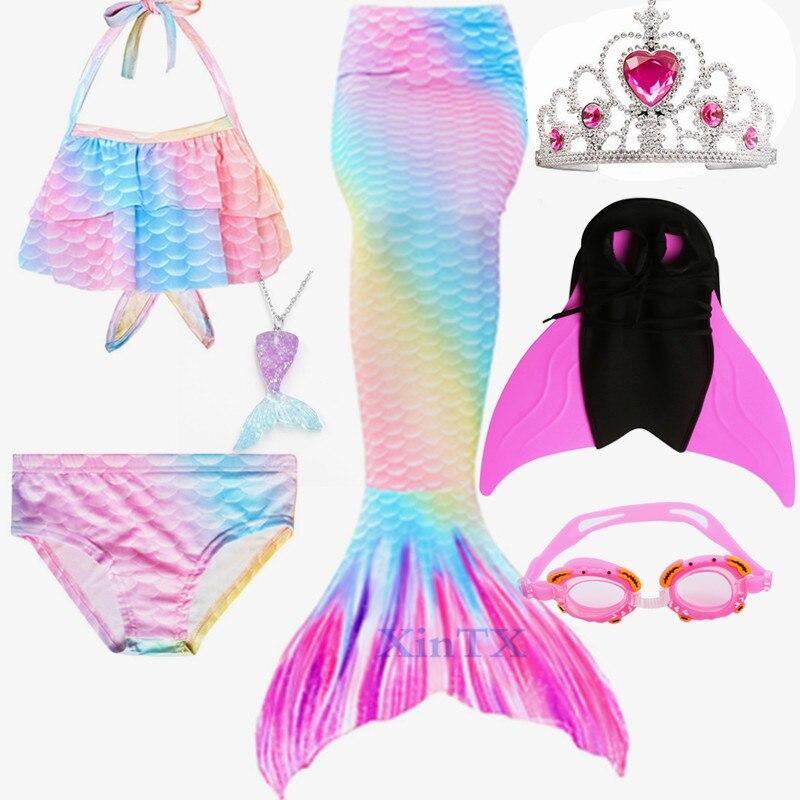 HOT Kids  Girls Swimmable Children Mermaid Tails With Monofin Swimsuit Bikini Bathing Suit Dress For Girls Swimming