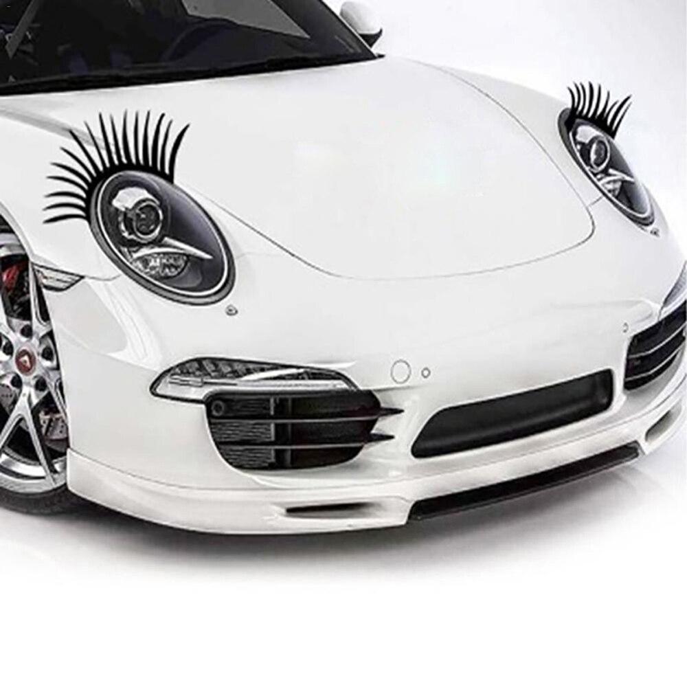 2 قطعة/المجموعة سيارة العلوي رمش ملصقات 3D الساحرة الأسود كاذبة الرموش سيارة العلوي الديكور مضحك صائق