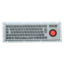 Waterproof Panel Mount Backlit Stainless Steel Industrial Metal Keyboard With Backlight Trackball Mouse
