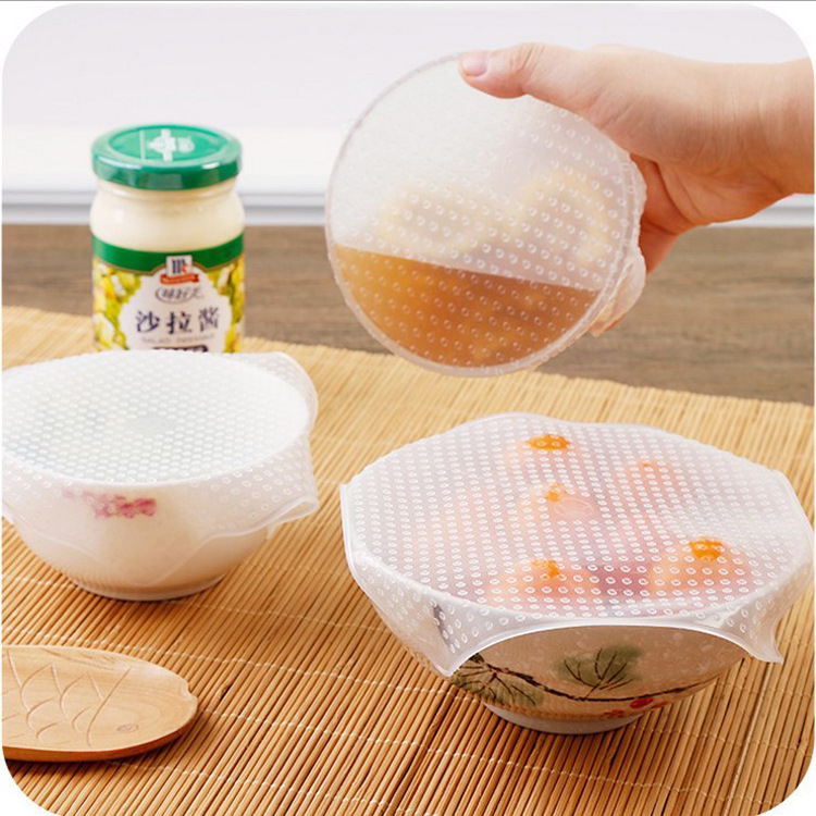4pcs Food Fresh Keeping Saran Wrap <font><b>Kitchen</b></font> <font><b>Tools</b></font> Reusable <font><b>Silicone</b></font> Food Wraps Seal Vacuum Cover Stretch Lid <font><b>Kitchen</b></font> Accessories image