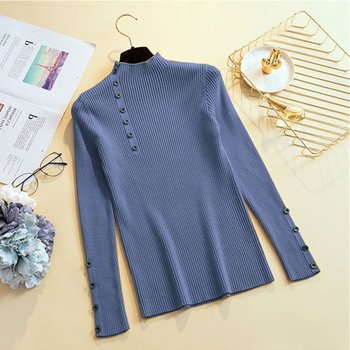 Ailegogo Women Turtleneck Knit Pullovers Spring Autumn Casual Slim Fit Sweater Solid Color Button Ladies Knitwear Korean Tops 6