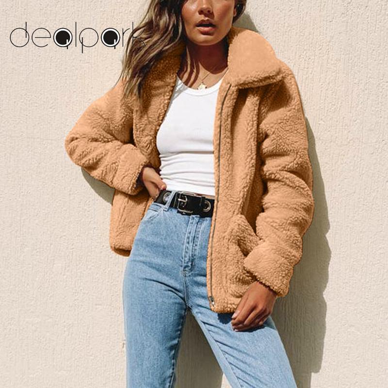 Women Faux Fur Coat 2020 Autumn Winter Warm Jacket Soft Zipper Fake Fur Jacket Female Plush Overcoat Elegant Outerwear Wholesale
