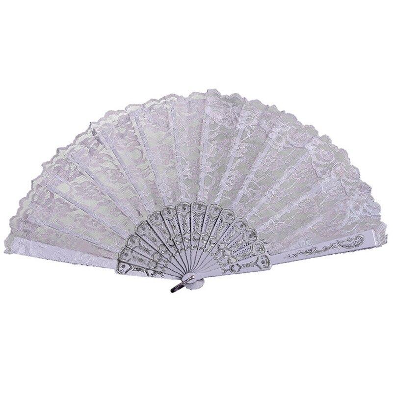 Chinese/Spanish Style Hand Held Folding Fan Dance Wedding Party Decor Lace Silk Hand Held Folded Flower Fan Dress Accessories /D