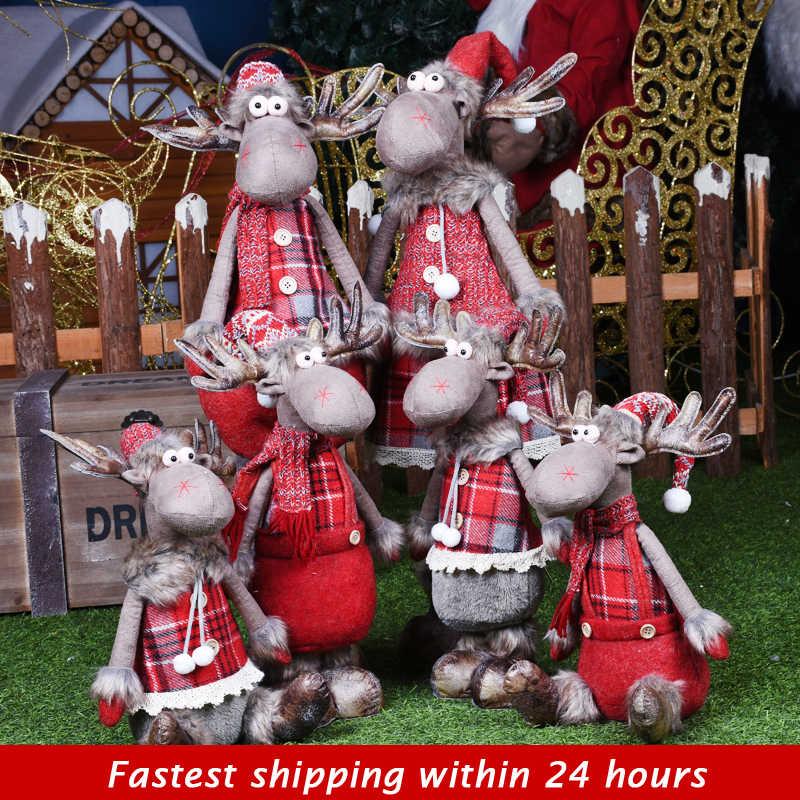 Natal Pesta Dekorasi Ditarik Boneka Natal Dekorasi untuk Pohon Santa Claus Manusia Salju Mainan Figurines Natale Decorazioni