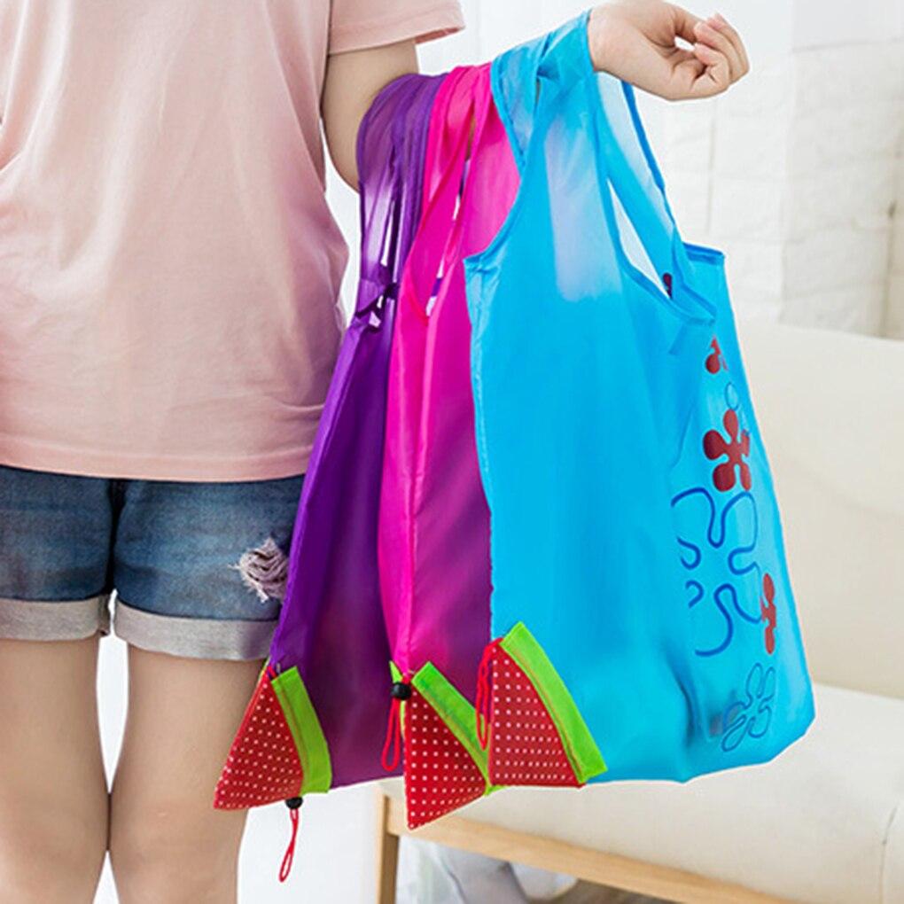 Hot Creative Environmental Storage Bag Handbag Strawberry Foldable Shopping Bags Reusable Folding Grocery Nylon Eco Tote Bag