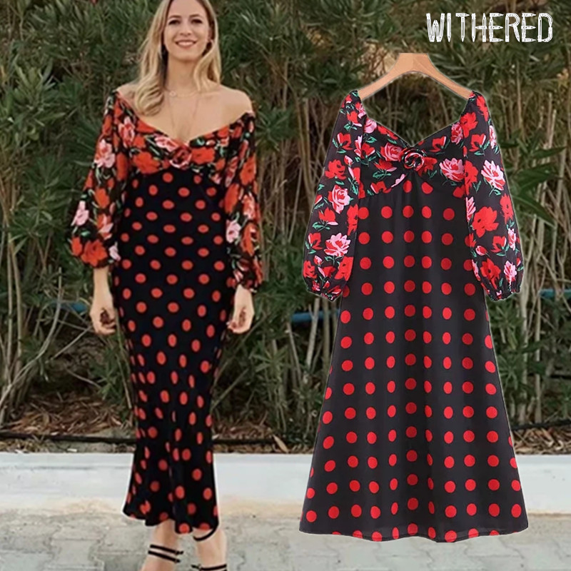 Withered Fashion Blogger Vintage Floral Print Patchwork Dress Women Vestidos De Fiesta De Noche Vestidos Maxi Dress Women Blazer