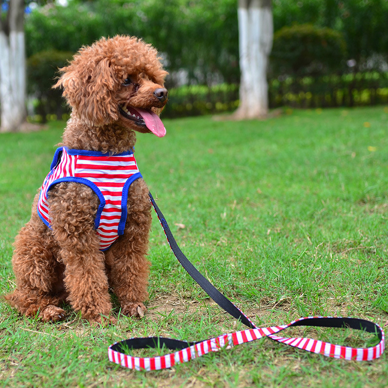Pet Supplies Sailor Protection Type Pet's Chest-back And Hand Holding Rope Dog Stripes Chest And Back Hand Holding Rope