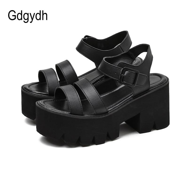 Gdgydh Black Platform Women Sandals Summer 2021 Female Shoes Woman Block Heel Fashion Buckle Causal Sandals Cheap High Quality