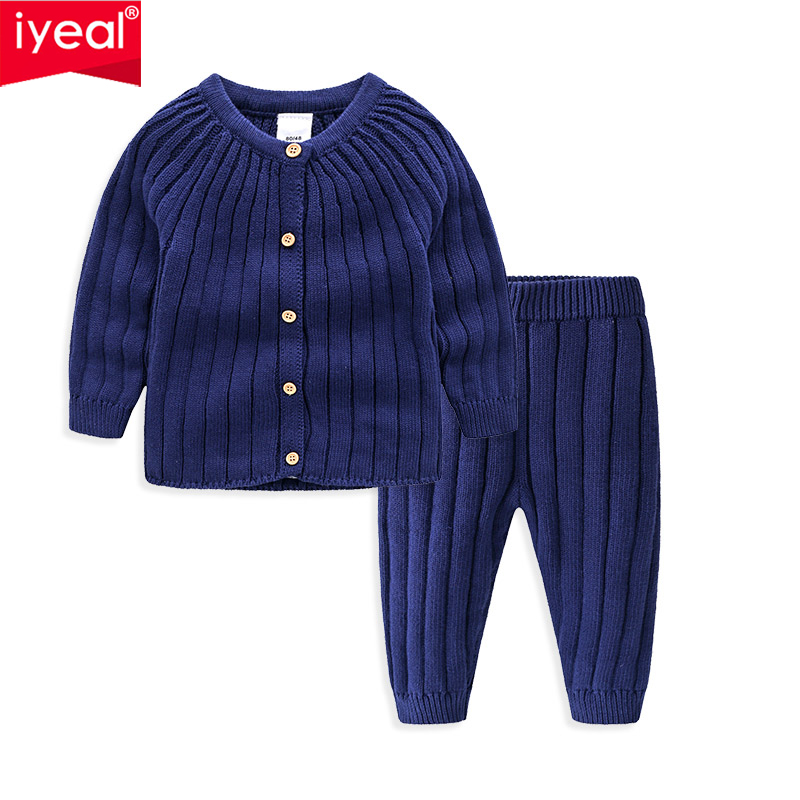 IYEAL Kids Girls Boys <font><b>Clothing</b></font> Sets Autumn Winter Children <font><b>Baby</b></font> Clothes Warm Cotton Knitted Sweaters + Pants Christmas Outfits image