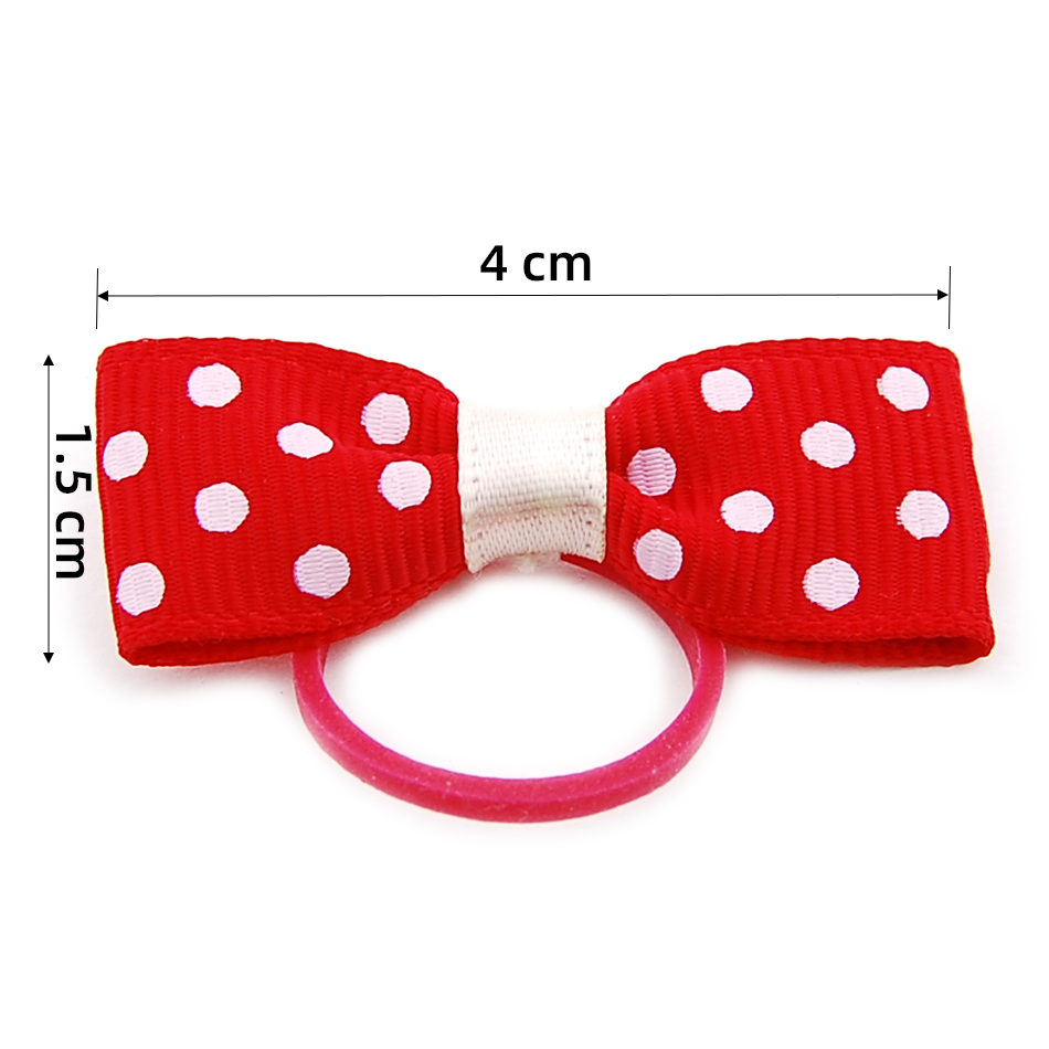(24 pieces/lot) Pet Puppy Small Dog Hair Flower Bows Pet Hair Accessories Dog Bowknot Elastic Band Decoration Poodle 2
