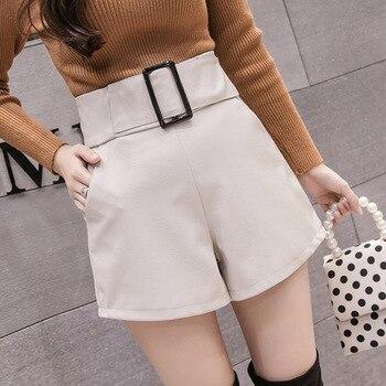 2019 Korean PU Faux Leather Shorts Women Autumn Winter High Waist Wide Leg Short ladies Plus Size Sexy Black Belted Short Femme 4