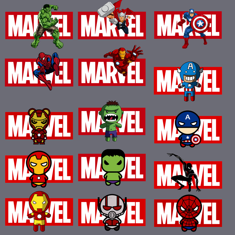 1Pcs Marvels Avengers Spiderman <font><b>Ironman</b></font> Iron on Clothes Stickers Heat-Sensitive <font><b>Patch</b></font> Application of Applique Boys Heat Transfer image