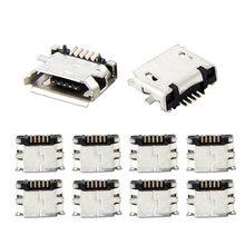 10 pces micro usb mk5p 5pin fêmea conector micro usb tomada de carregamento em linha reta