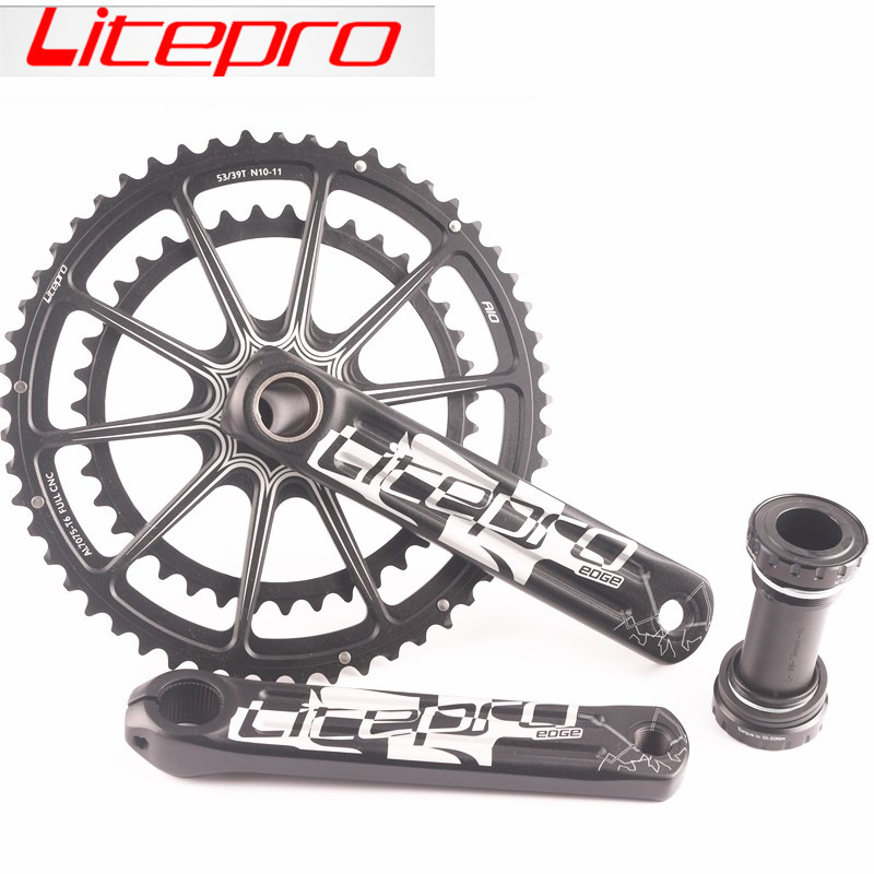 Litepro EDGE AIO Double Chainring road bike Crankset Crank 53 39T 50 34T 52 36T 170mm 172.5mm with BSA BB 68 73mm|double chainring|bike crankset|crankset crank - title=