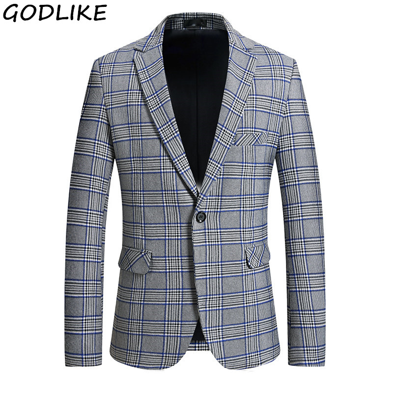 2019 New Listing Brand Clothing Jacket Men's Plaid Suit Jacket Men's Suit Jacket Fashion Slim Fit Mens Casual Blazer Coats
