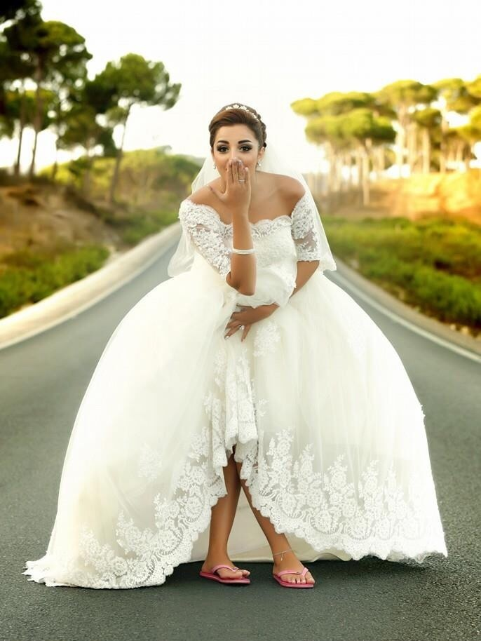 Custom made robe de mariee vestido de noiva off the shoulder half sleeves ball bridal gown 2018 mother of the bride dresses