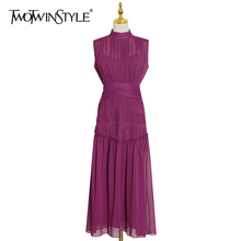 TWOTWINSTYLE Vintage Ruched Dress For Women Stand Collar Sleeveless High Waist Chiffon Midi Dresses Female 2021 Fashion New