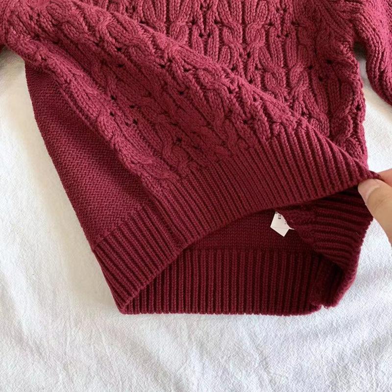 Autumn Winter Baby Kids Boys Long Sleeve Knit Sweater Baby Kids Boys Pure Color Pullover Sweaters Children's Clothes 6