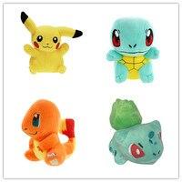 4Pcs/Set Anime Figure Soft Plsuh Stuffed Animal Doll Squirtle Bulbasaur Charmander Kids Toys