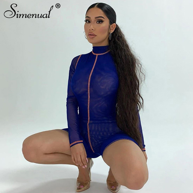 Simenual Mesh See Trough Patchwork Rompers Women Long Sleeve 2020 Summer Biker Shorts Playsuit Fashion Bodycon Skinny Playsuits