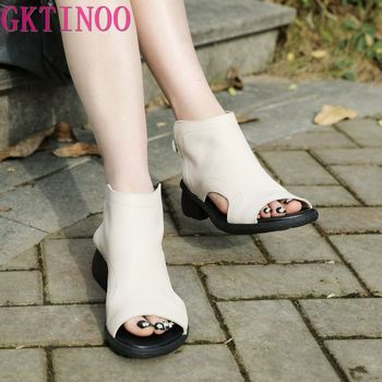 GKTINOO Womens Summer Sandals Genuine Leather Handmade Ladies Shoes 2020 Thick Heels Women Retro