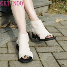 GKTINOO Women's Summer Sandals Genuine Leather Handmade Ladies Shoes
