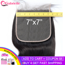 Gabrielle 7x7 Closure Brazilian Body Wave Human Hair Lace Closure with Baby Hair Swiss Lace Natural Color Remy Hair Extensions