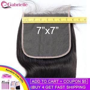 Image 1 - Gabrielle 7x7 fechamento brasileiro onda do corpo fechamento do laço do cabelo humano com o cabelo do bebê laço suíço cor natural remy extensões de cabelo