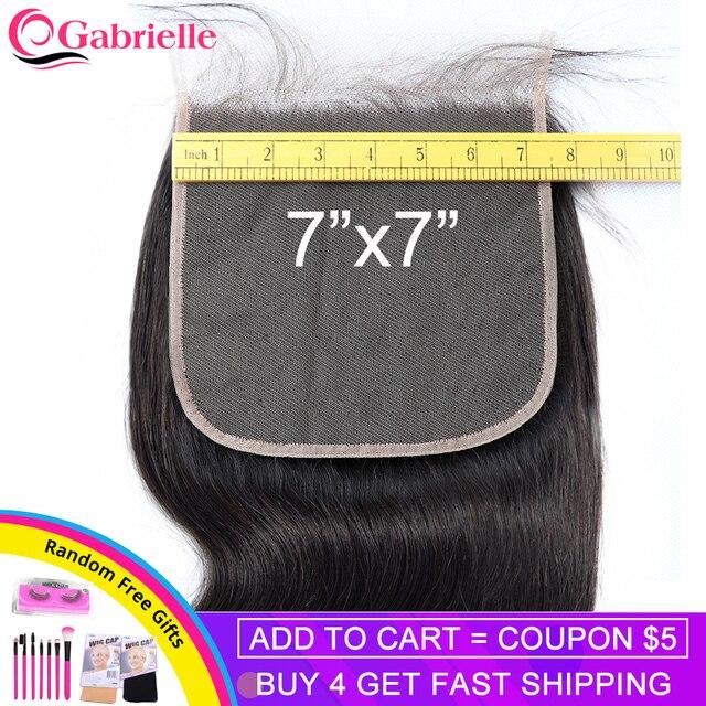 Gabrielle 7x7 fechamento brasileiro onda do corpo fechamento do laço do cabelo humano com o cabelo do bebê laço suíço cor natural remy extensões de cabelo