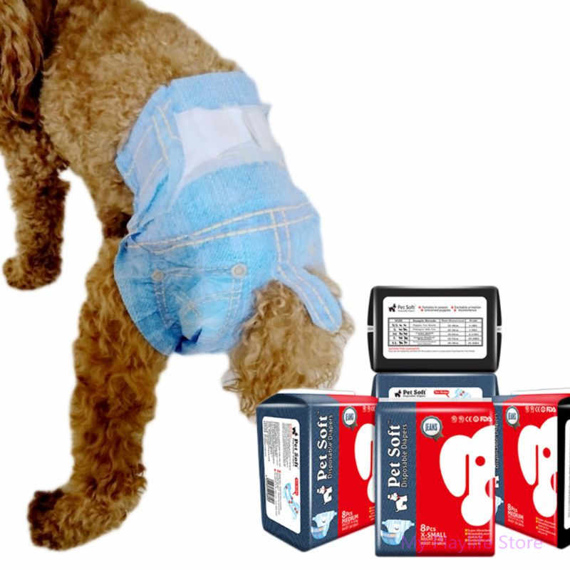 New Dog Diapers Female Dogs Sanitary Physiological Pants Super Soft Absorbent Powerful Pet Jeans For Puppy Big Dog 5 Sizes C42