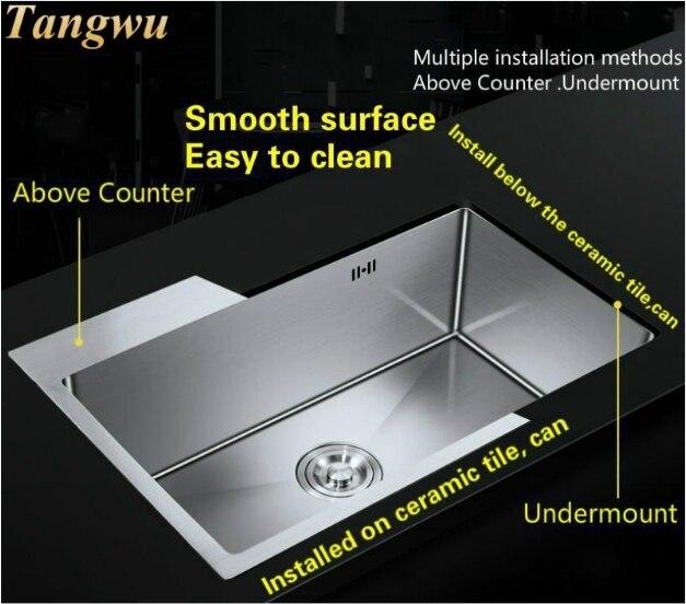 Évier de cuisine en acier inoxydable   Qualité alimentaire ordinaire 304, fente unique 3 mm épaisseur durable 60x45 CM