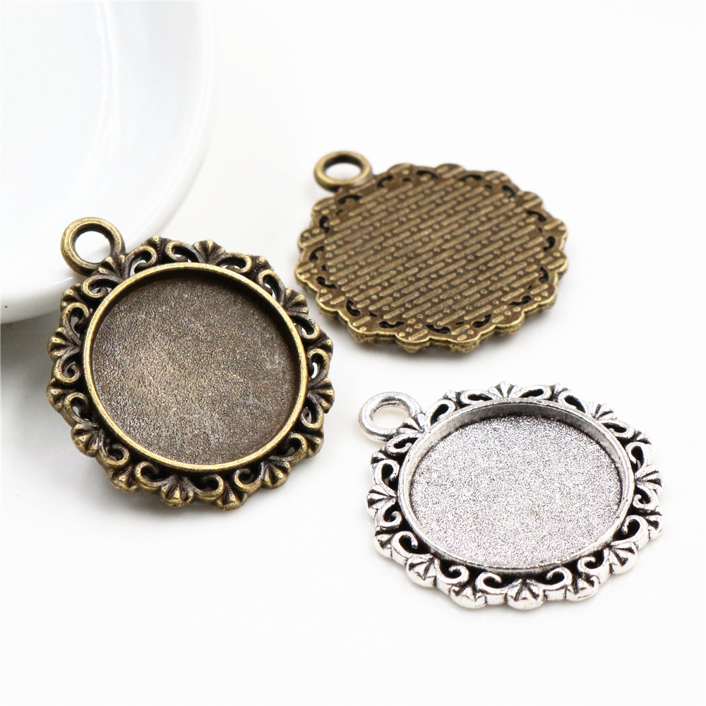 10pcs 18mm Inner Size Antique Bronze And Silver Texture Style Cabochon Base Cameo Setting Charms Pendant