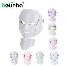 7 цветов светильник светодиодный маска для лица с омоложением кожи шеи уход за лицом Лечение Красота анти акне терапия отбеливающий инструмент