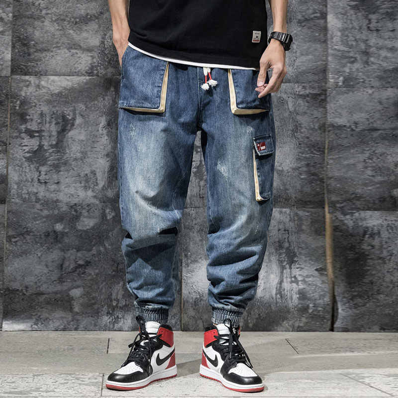 Japanse Stijl Mode Mannen Jeans Loose Fit Blauwe Kleur Multi Pockets Cargo Broek Slack Bodem Streetwear Hip Hop Jeans Mannen jogger