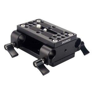 Image 1 - Kamera Montage Platte Stativ Einbeinstativ Montage Platte mit 15mm Rod Schellen Railblock Für Stange Unterstützung Schiene DSLR Kamera Rig