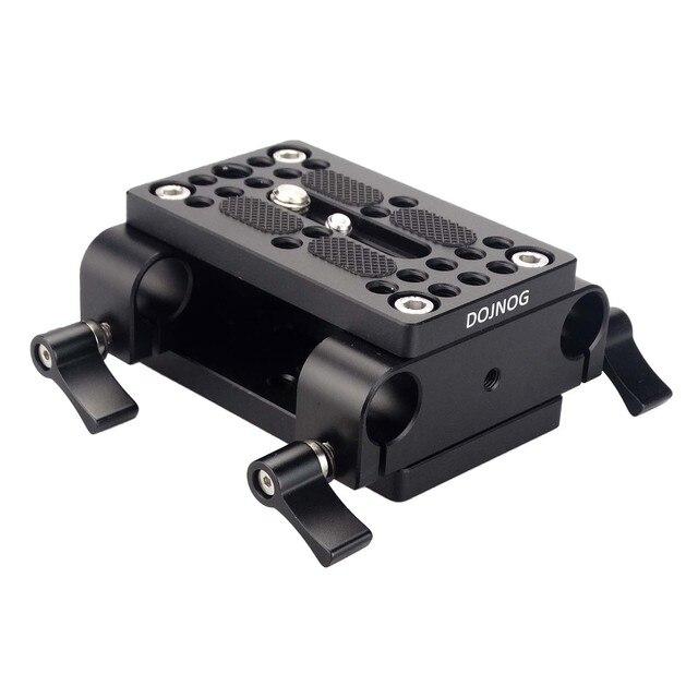 Kamera Montage Platte Stativ Einbeinstativ Montage Platte mit 15mm Rod Schellen Railblock Für Stange Unterstützung Schiene DSLR Kamera Rig