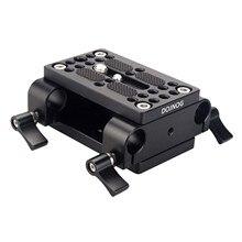 Kamera montaj plakası Tripod Monopod montaj plakası ile 15mm çubuk kelepçe Railblock Rod destek raylı DSLR kamera Rig