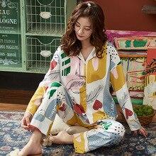 BZEL Womens Pajamas Striped Cartoon 카와이 플라밍고 잠옷 Nighty 여성 캐주얼 가을 겨울 Pijamas Feminino 2 개/대