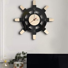 Nautical Wood Wall Clock Creative Rudder Nordic Style Silent Transparent Acrylic Clock Sailboat Steering Wheel Helm Decoration f(China)