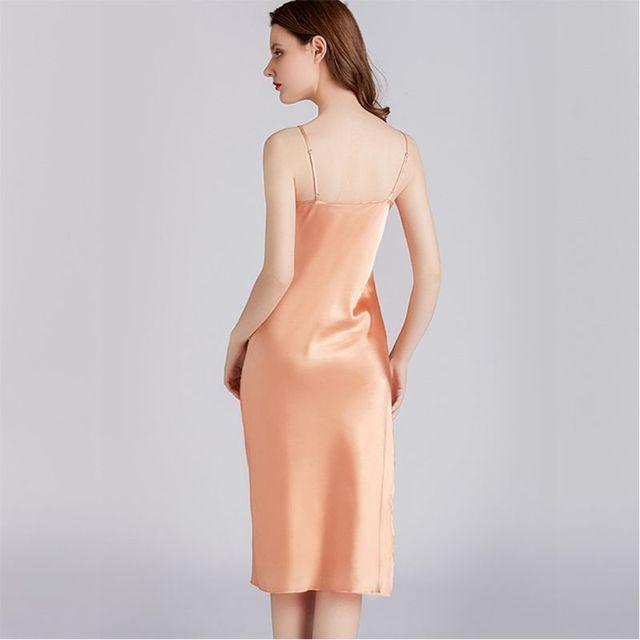 New Women Imitation Silk Midi Nightdress Summer Sleeveless V-Neck Full Slip Thin Nightgown Sleepwear
