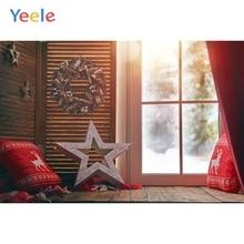 Yeele Christmas Backdrop Window Gift Star Pillow Winter Snow Photography Background Photo Studio Photobooth Shoot Photophone