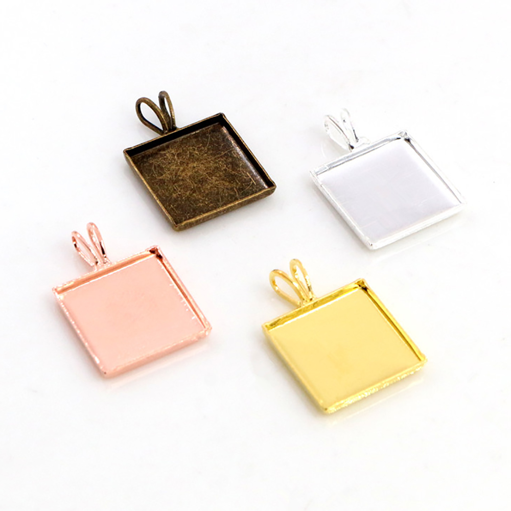 20pcs 12mm Square Inner Size 4 Colors Plated Brass Material Simple Square Style Cabochon Base Cameo Setting Charms Pendant Tray