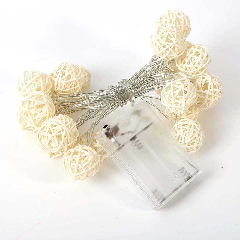 String Lights White Wedding Party Supplies Decoration Ornaments Hand Weaved Rattan Ball Lantern Chrismas Ball in Party DIY Decorations from Home Garden